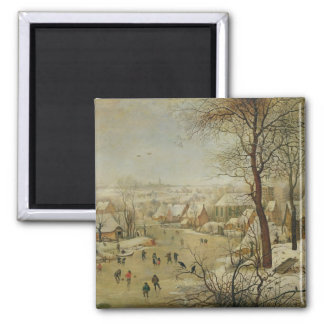 Paysage d'hiver avec le piège d'oiseau (huile sur  magnet carré