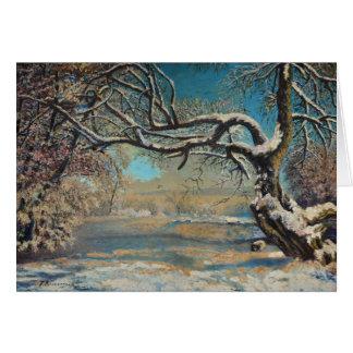 Paysage d'hiver carte de vœux