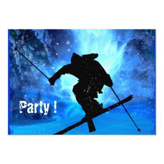 Paysage d'hiver et skieur de style libre invitation personnalisable