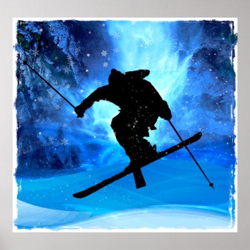 Paysage d'hiver et skieur de style libre posters