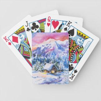 Paysage d'hiver jeu de cartes