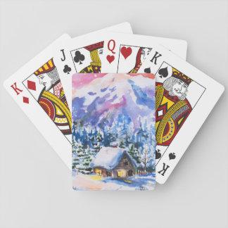 Paysage d'hiver jeux de cartes
