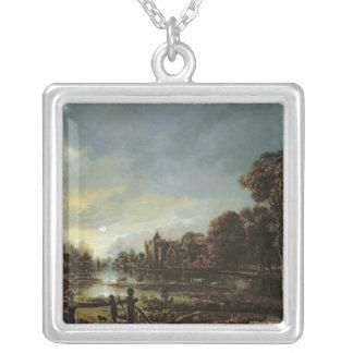 Paysage éclairé par la lune de rivière avec des co pendentif carré