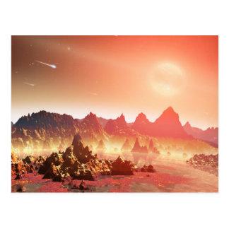 Paysage étranger rose et jaune carte postale