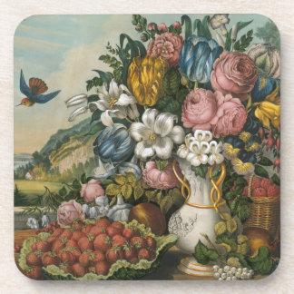 Paysage - fruit et fleurs sous-bock