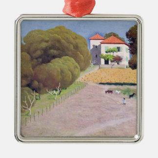 Paysage, la Chambre avec Roof rouge, 1924 Ornement Carré Argenté