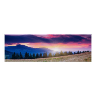 Paysage majestueux de montagnes sous le ciel de ma posters