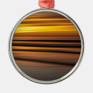 Paysage marin abstrait au coucher du soleil, CA Ornement Rond Argenté