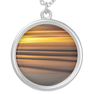 Paysage marin abstrait au coucher du soleil, CA Pendentif Rond