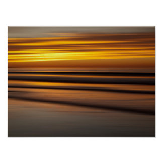 Paysage marin abstrait au coucher du soleil, CA Poster