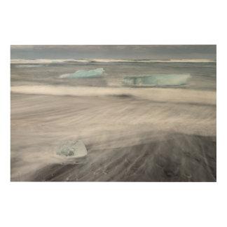 Paysage marin approximatif avec de la glace, impression sur bois