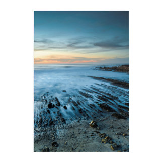 Paysage marin bleu au coucher du soleil, la art mural en acrylique
