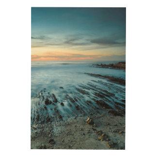 Paysage marin bleu au coucher du soleil, la impression sur bois