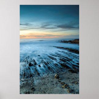 Paysage marin bleu au coucher du soleil, la poster