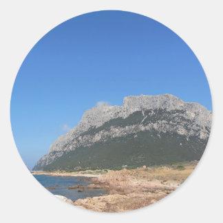 Paysage marin de la Sardaigne en été Sticker Rond