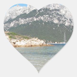 Paysage marin de la Sardaigne en été Sticker Cœur