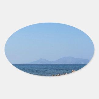 Paysage marin de la Sardaigne en été Sticker Ovale