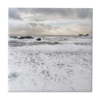 Paysage marin mousseux pâle d'océan, Islande Petit Carreau Carré