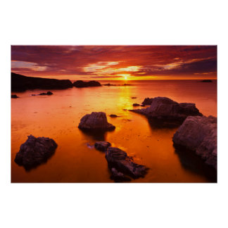 Paysage marin orange, coucher du soleil, la posters