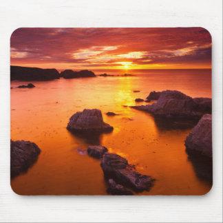 Paysage marin orange, coucher du soleil, la tapis de souris