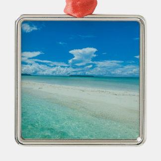 Paysage marin tropical bleu, Palaos Ornement Carré Argenté