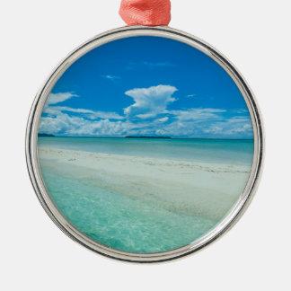 Paysage marin tropical bleu, Palaos Ornement Rond Argenté