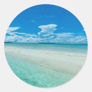 Paysage marin tropical bleu, Palaos Sticker Rond