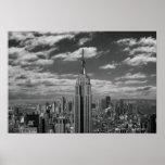 Paysage noir et blanc d'horizon de New York City Posters