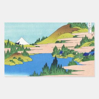Paysage oriental frais de vue de Hokusai Fuji de Sticker Rectangulaire