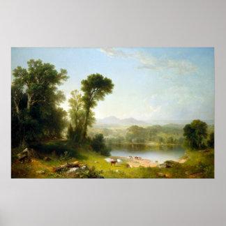 Paysage pastoral de Brown Durand de calcinateur Poster