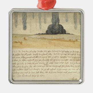 Paysage rêveur avec le texte, 1526 ornement carré argenté