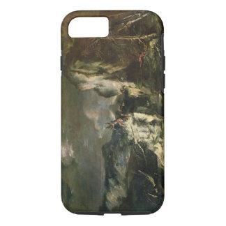 Paysage rocheux avec un chasseur et des guerriers coque iPhone 7