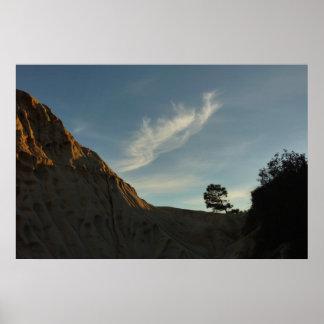 Paysage solitaire de coucher du soleil de la poster