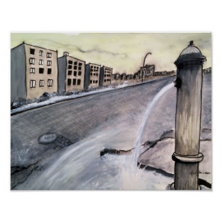 Paysage urbain apocalyptique 2 - affiche poster