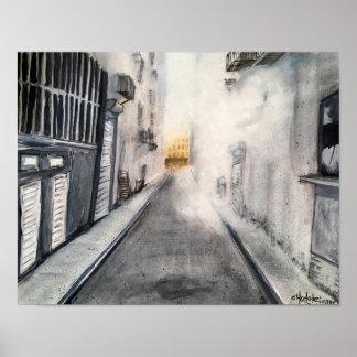Paysage urbain chaud et humide d'allée - affiche poster