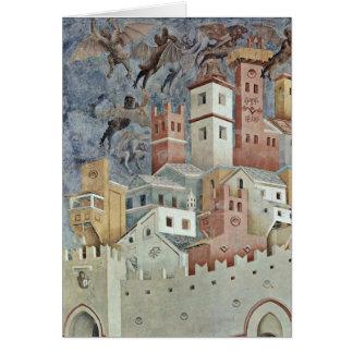 Paysage urbain de diable par Giotto Di Bondone Carte De Vœux