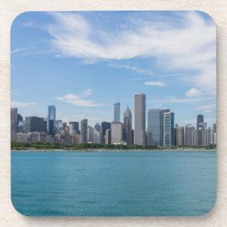 Paysage urbain de jour de Chicago Dessous-de-verre