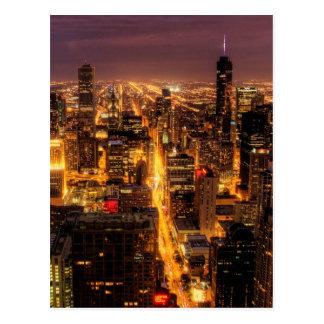 Paysage urbain de nuit de Chicago Carte Postale