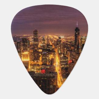 Paysage urbain de nuit de Chicago Onglet De Guitare