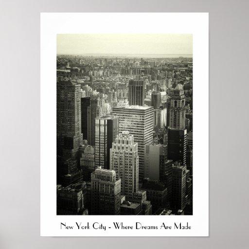 Paysage urbain noir et blanc de new york city poster zazzle for Credence new york noir et blanc