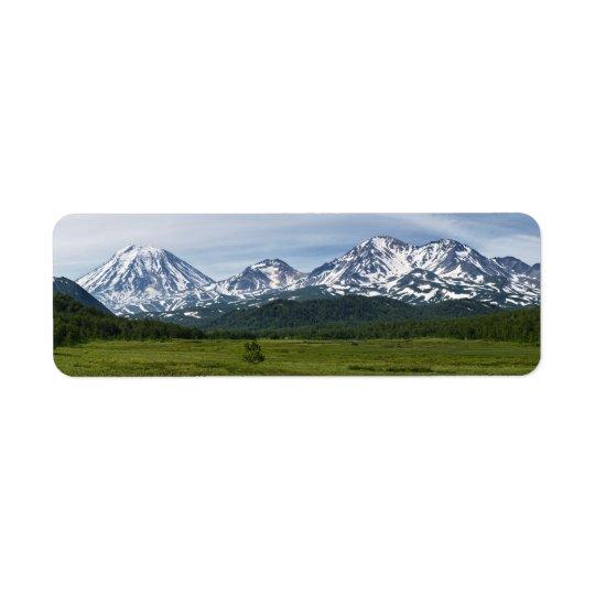 Paysage volcanique de bel été du Kamtchatka Étiquettes D'adresse Retour