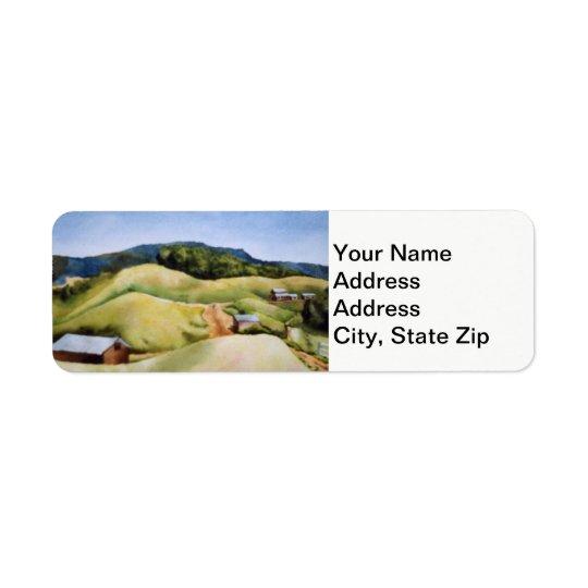 Paysages de pays et granges pittoresques de routes étiquette d'adresse retour