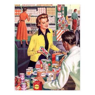 PC vintage de vente d'affaires d'épicerie de carte