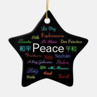 Peace Around the World In Black II Christmas Ornament