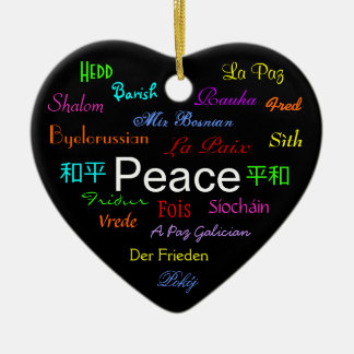 Peace Around the World In Black III Christmas Tree Ornament