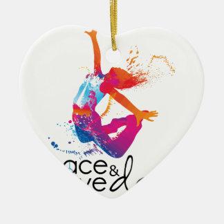 Peace et love Danse Ornement Cœur En Céramique
