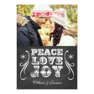 PEACE LOVE JOY Chalkboard Holiday Flat Card Custom Invitations