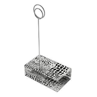 Peau d'animal en noir et blanc porte-carte de table