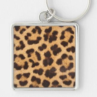 Peau de léopard porte-clé carré argenté