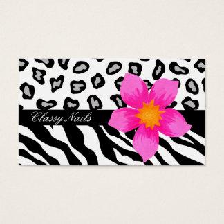 Peau noire, blanche, rose et grise de zèbre et de cartes de visite